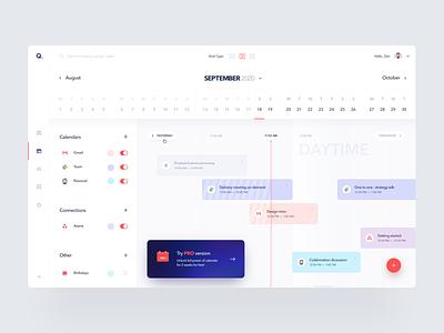 Calendar App planing schedule design product design simple modern typography conference dashboard meeting timeline calendar web clean minimal interface app ux ui