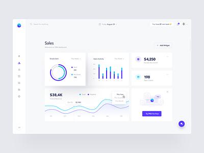Sales Dashboard design panel crm report data analytics stats chart statistics graph admin dashboard web product design clean minimal interface app ux ui