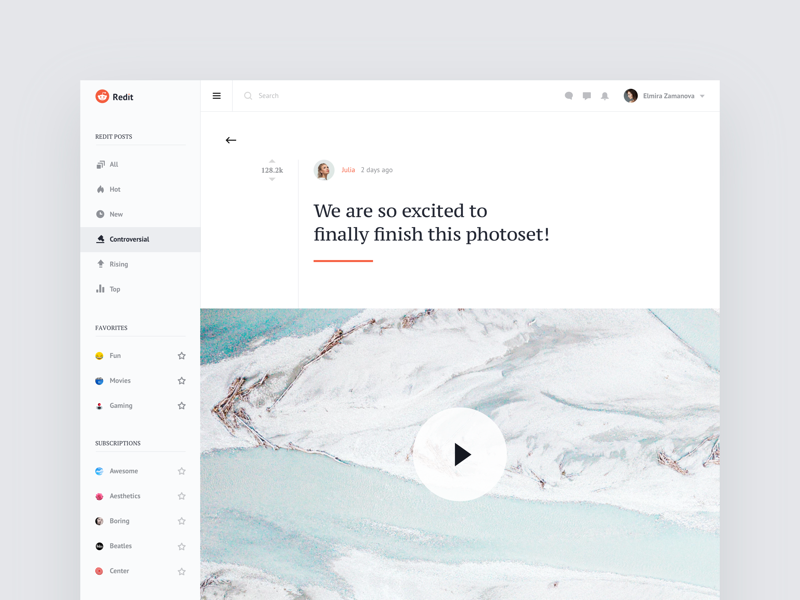 Reddit - Redesign Concept web ux ui clean video dashboard typography concept redesign reddit