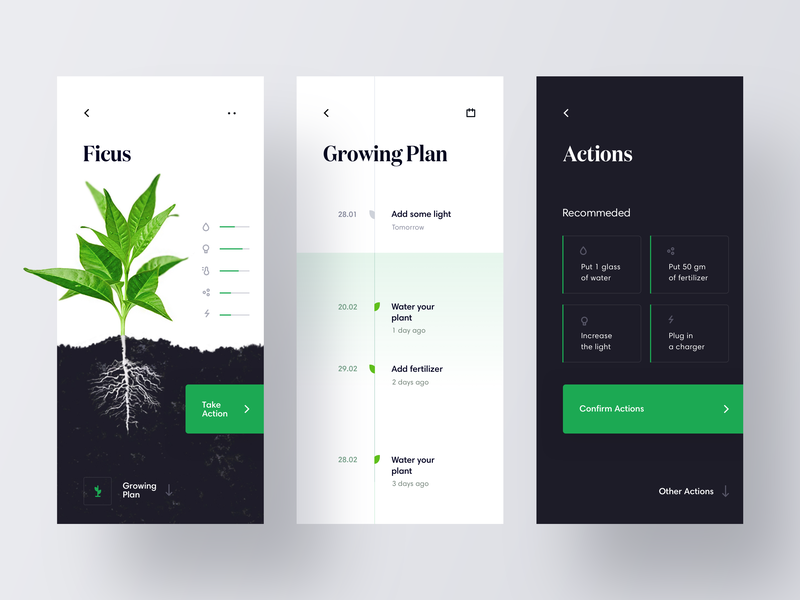 IoT App for growing plants ground statistics growing grow flower plant timeline analytics green data tech interface app ios minimal mobile iot dashboard ui ux