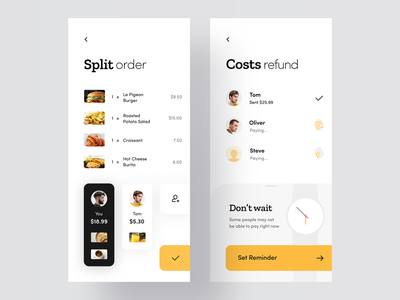 Split Pay App concept ios cards design iphone yellow food pay restorant mobile minimal interface app ux ui