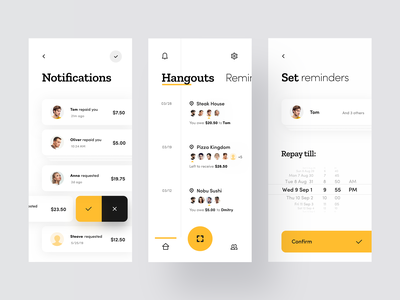 Split Pay in Restaurant receipt food design clean iphone ios mobile minimal timeline reminder notifications pay restaurant black yellow concept app interface ux ui