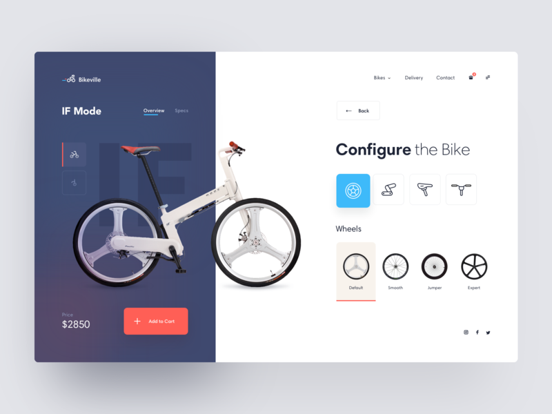 Bike Configurator clean configurator wheels product page store bicycle bike webdesign blue orange ecommerce shop concept interaction minimal web interface app ux ui