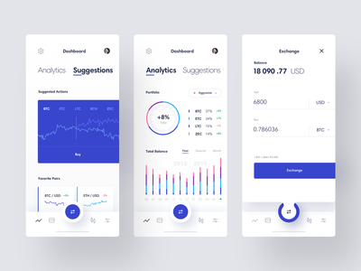 Cryptocurrency Exchange App cryptocurrency wallet crypto blockchain bitcoin minimal data design analytics dashboard concept iphone ios clean mobile interaction app interface ux ui