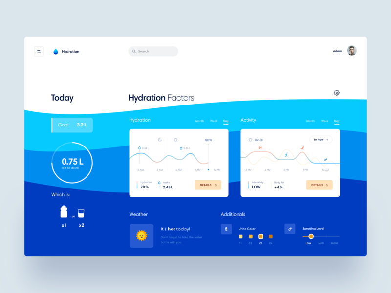 Body Hydration Dashboard minimal interface webdesign chart app web product design concept fitness tracker health body dashboard ux ui fresh waves blue water analytics