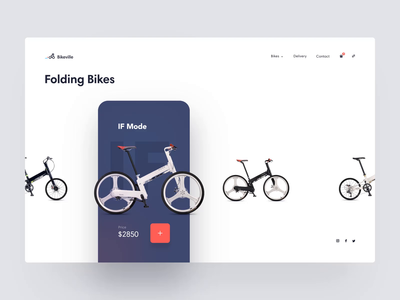 Bike Shop Interaction app smooth clean simple wheels bicycle bike website motion card cart store ecommerce shop interaction product design minimal animation ux ui