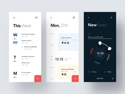Minimal Calendar Concept duration booking timeline events schedule minimal clean time date app event night dark calendar ios mobile product design concept ux ui
