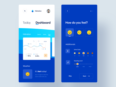 Body Hydration Tracker App tracker navigation calories activity blue chart hydration health water concept ios mobile analytics minimal dashboard interface app product design ux ui