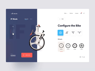 Bike Configuration bicycle bike cart website clean customization wheels configurator shop ecommerce animation design motion design product design web minimal animation app interface ux ui