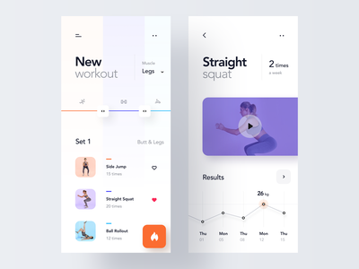 Custom Workout App ux ui interface gym app minimal dashboard mobile ios concept clean product design workout fitness health gym sport activity chart training statistics