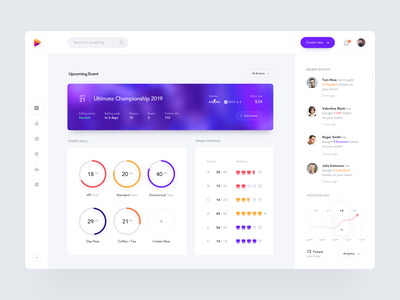 Event Organizer Dashboard icon event card website app tournament gaming seats charts minimal design concept clean analytics dashboard product design web interface ux ui