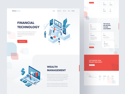 Fintech Landing Page finance technology responsive corporate font clean simple web landing page landingpage chart fin-tech fintech website minimal isometric illustraion landing ux ui