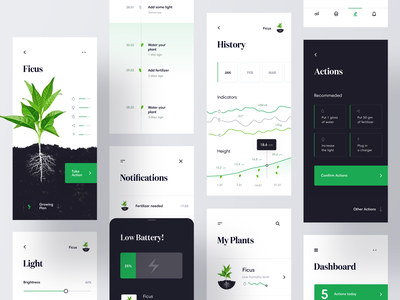 Growing plants IoT app - UI map iot iphone ios cards plant green chart mobile product design design clean dashboard interface ux ui minimal app