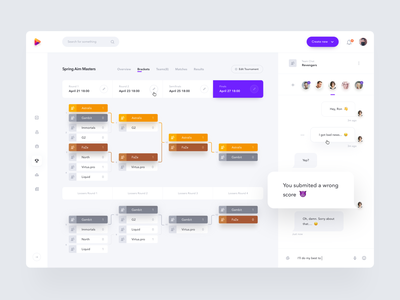 Tournament Brackets (eSports) chat tournament game gaming table ladder cybersport esports brackets site website product design web clean dashboard minimal interface app ux ui