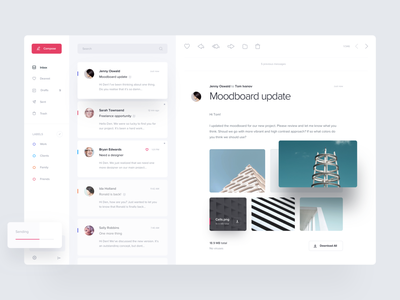 Mail Client web design exploration ui ux app mimimal card mailbox chat mailing email product design messages clean icon shadow typogaphy inbox web website