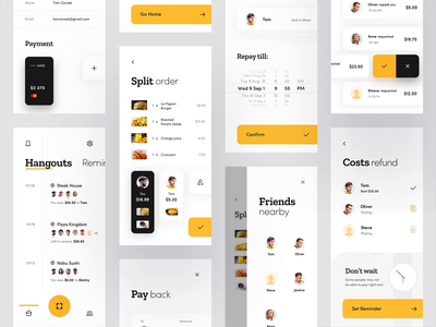Split Check App - Overview scan iphone product design food interaction restaurant pay yellow concept cards design animation ios mobile interface minimal clean app ux ui