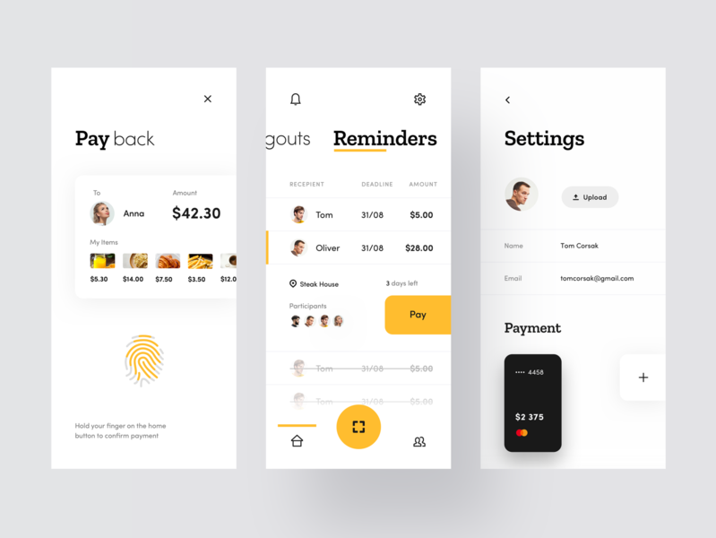 Split Check App check bill restaurant food application modern typogaphy concept yellow cards fingerprint product design ios mobile clean minimal interface app ux ui