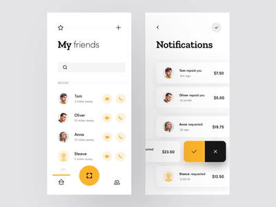 Split the Bill App search iphone card modern minimal yellow clean motion animation interaction interface application ios product design mobile app user interface ux ui design ui