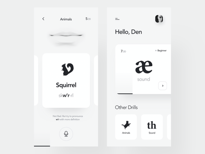 Accent Reduction App language lesson learning student educational accent english voice ai elegant typography ios product design mobile clean minimal interface app ux ui
