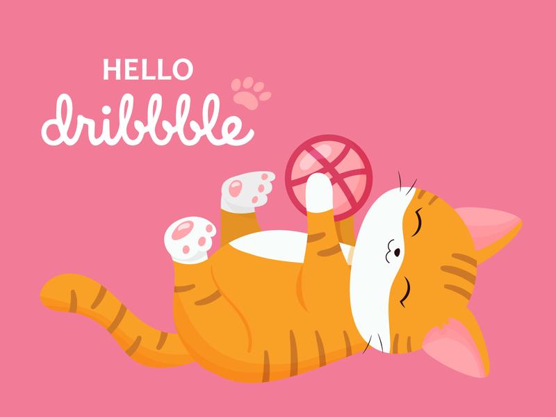Hello Dribble! design art cat logo flat adobe illustrator paw cartoon kawaii hello dribble vectorart illustration cat vector