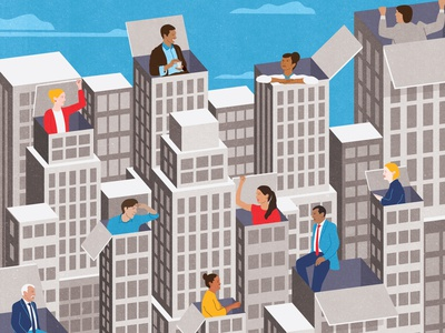 Making Change office building office workplace business woman businessmen conversation human resources teamwork design skyscraper characters conceptual business magazine editorial illustration illustrator textured illustration business corporation corporate