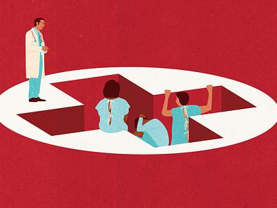 Health Insurance textured illustrator editorial illustration conceptual illustration editorial health care medicare physician hospital patients health medicine healthcare health insurance