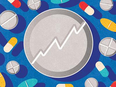 Pharma medical medicine drugstore banner editorial textured editorial illustration illustration pharmaceuticals infographics investment pills drugs pharmaceutical pharma