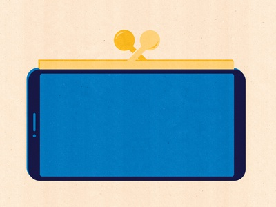 Mobile Wallet money money management money transfer money app purse design editorial illustration app technology illustrator textured illustration wallet wallet app payment pay payment app