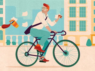 Cosmopolitan (DE) editorial illustration cycling city illustration bicycle character design magazine illustration illustrator vector textured editorial illustration summertime lifestyle illustration summer lifestyle cosmopolitan