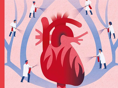 Heart Health diagnostic anatomy human body textures medicine illustrator conceptual magazine cover artwork cover promotional material characters texture textured healthcare heart medical research illustration health