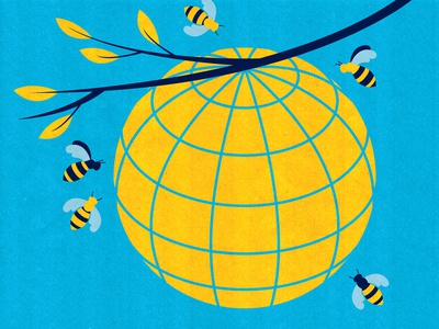 International Development vector illustrator editorial conceptual corporate business international trade politics united nations policy illustration beehive bees global globe climate crisis climate climate change world earth