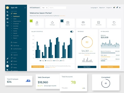 Epic HR Management Admin Dashboard and ui kit angular admin template rtl support dark light job portal job board project management hrms admin design bootstrap react angular laravel html admin template admin dashboard admin