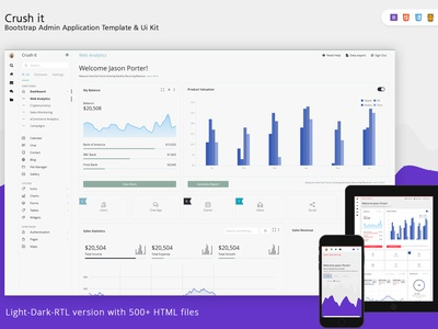 Crush it - Bootstrap Admin Template web application web app html crm angular bootstrap clean admin template admin panel admin dashboard admin