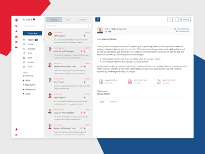 Crush it Inbox App Design and admin template mailbox laravel react angular admin ui design clean html bootstrap inbox mail