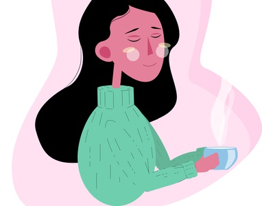 Girl with tea girl simply vector illustration design