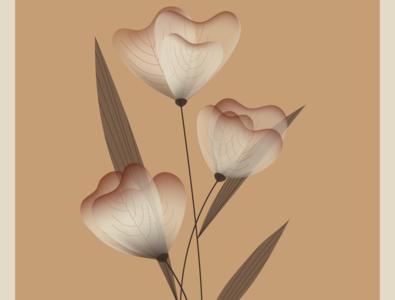 Vector flowers lineart retro illustration 2d flowers simply design vector illustration