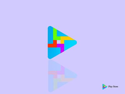 play store designs icon icon app illustrator branding design design illustration logo play player logo app play video