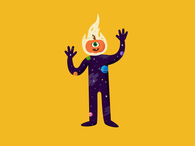 Pumpkin Head flame halloween galaxy pumpkin illustration illustrator