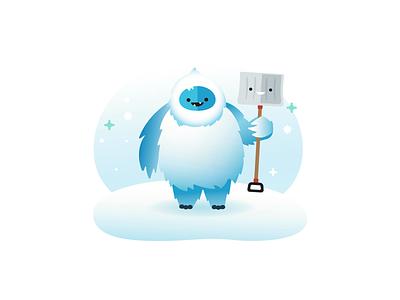 Yeti snowing snow shovel abominable snowman illustration yeti