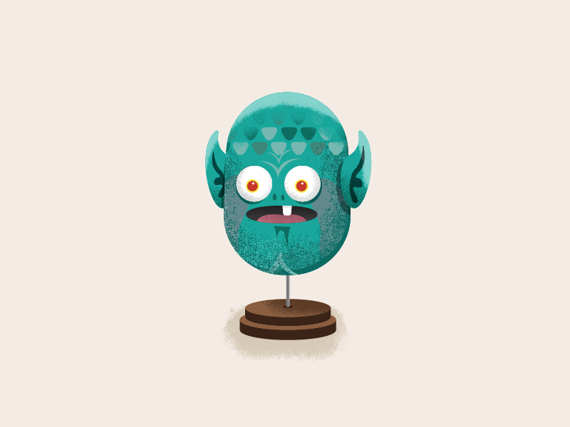 Alien creature texture trophy illustration alien