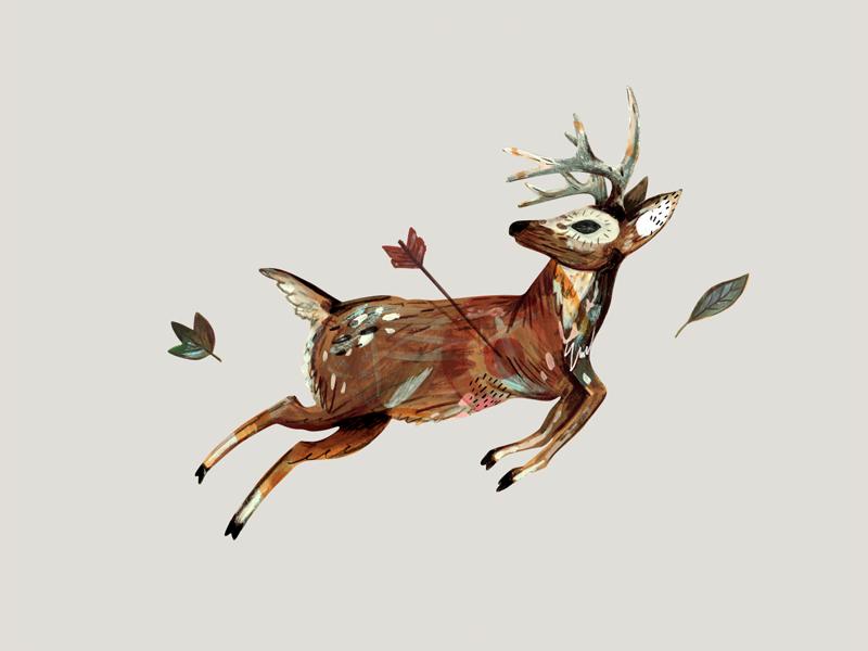 Deer Final spot illustration illustration mixed media gouache painting deer