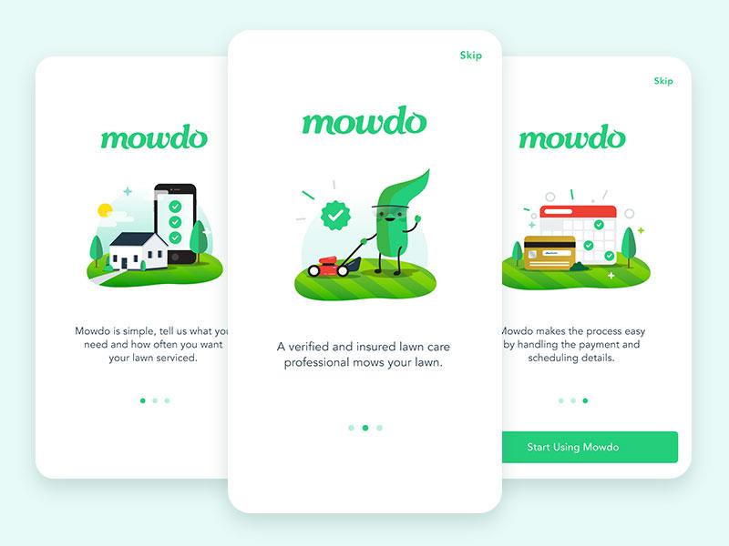 Mowdo Welcome Screens illustration branding ui design ux mobile ui lawncare