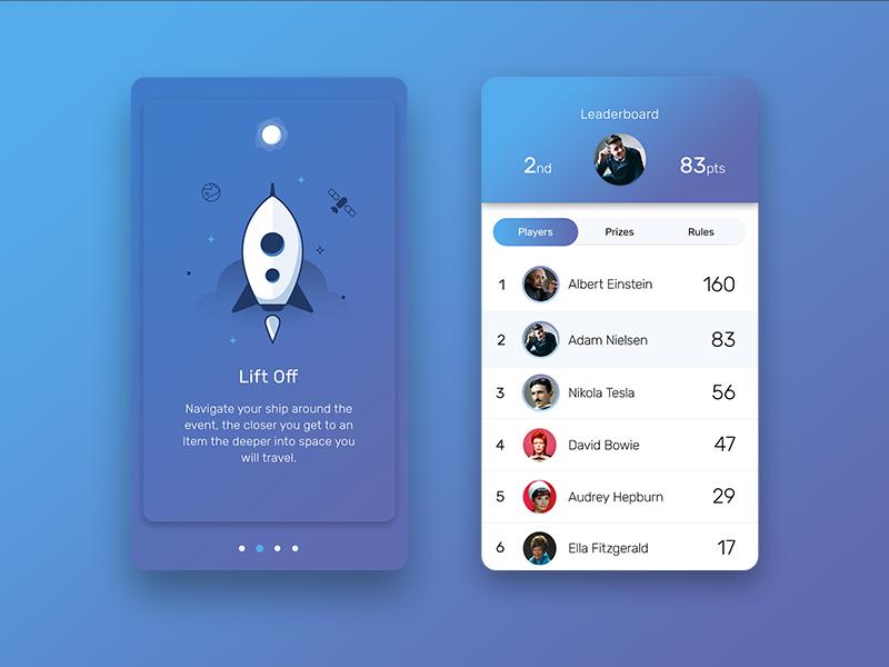 App Screens illustration mobile ui ux planet welcome leaderboard spaceship space app ios iphone