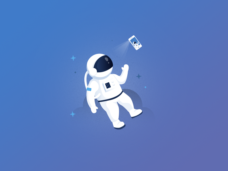 Space Selfie selfie astronaut space ios app mobile illustration iphone ux ui
