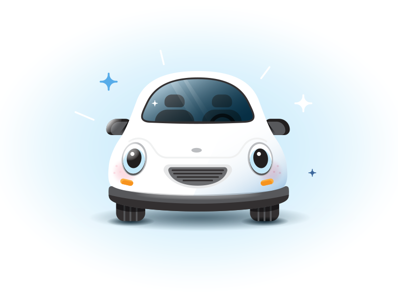 Car Illustration ux ui illustration smile insurance auto anthropomorphic car
