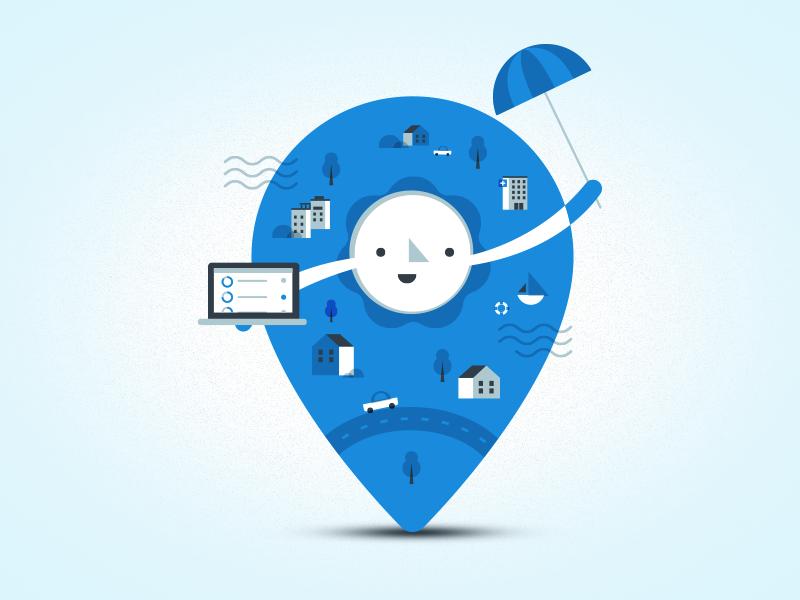 Map Marker city cityscape sun insurance location illustration