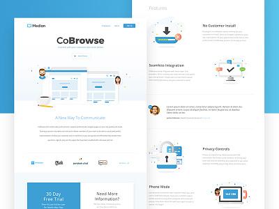 Median Website customer service chat ui illustration ux website