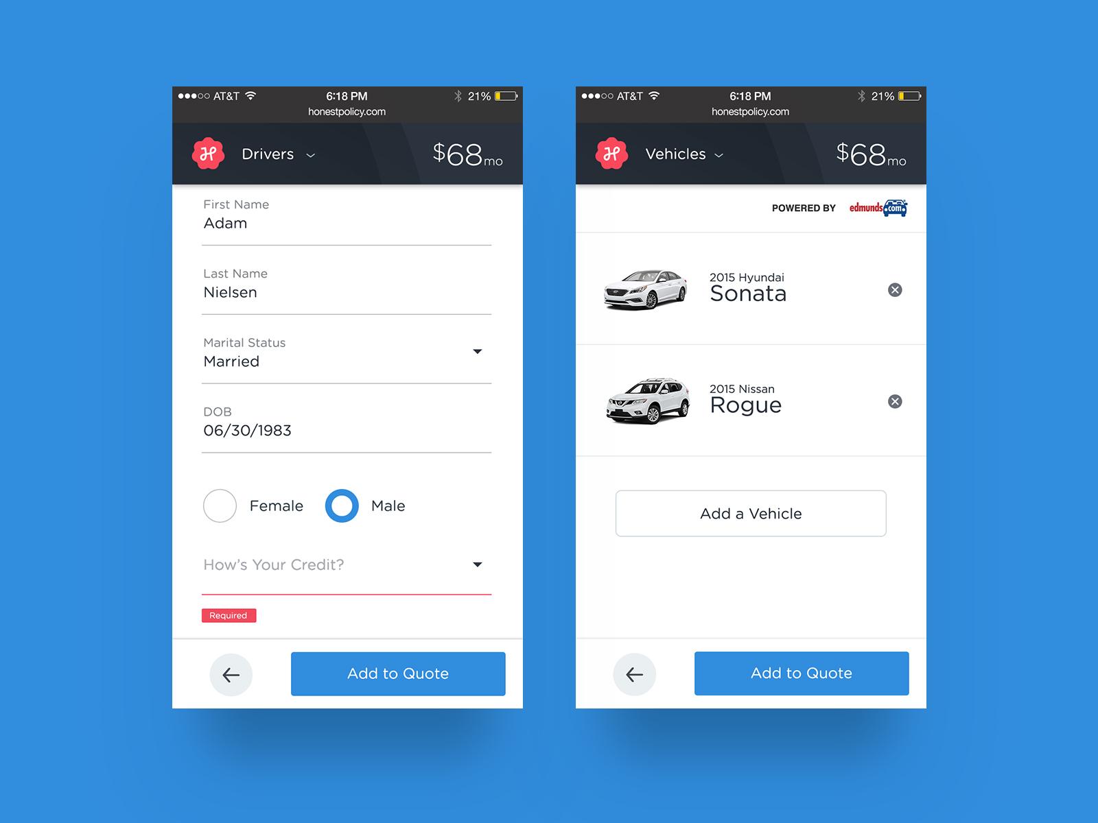 Responsive Form For HP insurance website startup design ui
