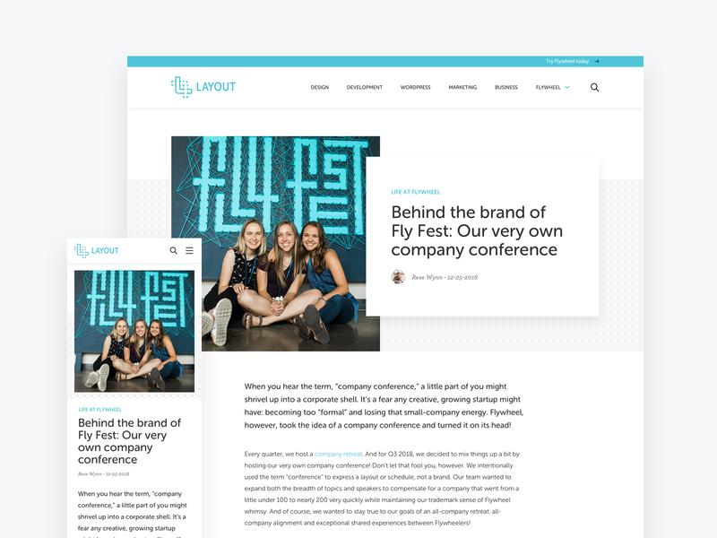 Flywheel - Layout ui ux redesign article layout design blog layout flywheel