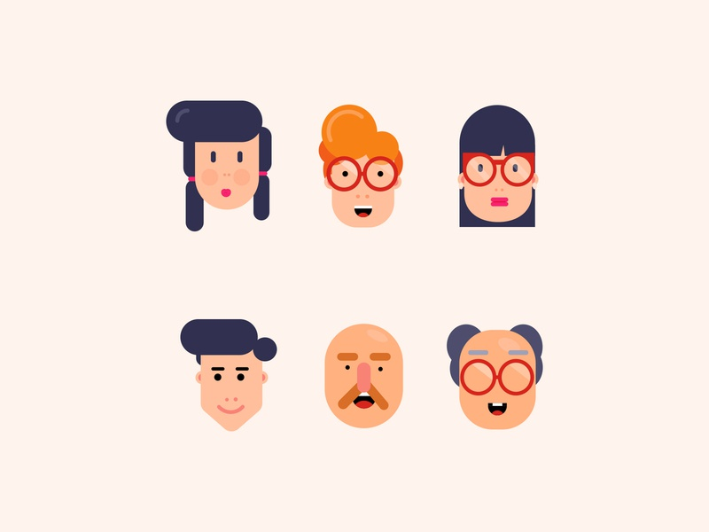 Characters illustraion flat flat faces persons person face faces flat ui ui flat character design flat character